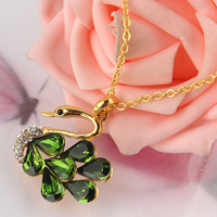 Free shipping Women's 18k Yellow Gold Filled 6 Colors Zircon Austrian Crystal Swan Wedding Chain Necklace & Pendant Gift Jewelry