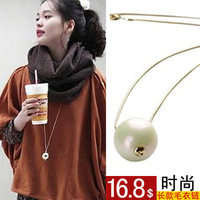 2014 NEW Fashion pearl long design necklace female pendant accessories natural freshwater pearl necklace