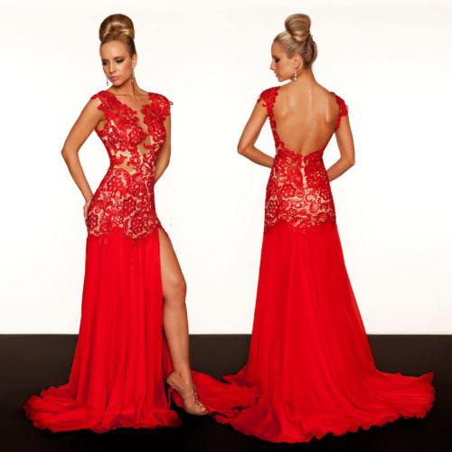 Personalizado Sexy Frente Slit Red Abrir Voltar Vestido de Noite Tribunal Trem real Amostra Red Lace Vestido 2013 Chegada Nova 61041R(China (Mainland))