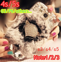 Rabbit fur phone case  for samsung note 2 3  N7100 galaxy s3 s4  iphone 4 4s 5 5s  Fox leopard luxury style rhinestone shell