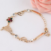 Free shipping New Fashion Women/Girl's 18k Yellow Gold Filled Austrian Crystal Flower Heart Bracelet & Bangle Gift Jewelry