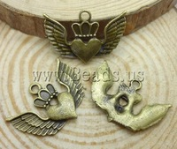 Free shipping!!!Zinc Alloy Heart Pendants,Wholesale Lot, Winged Heart, antique bronze color plated, nickel, lead & cadmium free