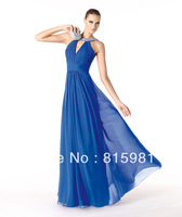 2014 Blue Chiffon Elegant Neckline Floor-Length Evening Dress Formal Gown XS S M L XL 2XL 3XL 4XL