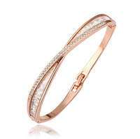 Wholesale Genuine Austrian Crystals Elegant Bangle Rose Gold Plated 100% Hand Made Jewelry Free Shipping 18KGP Z027