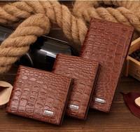 New 2014 Men's Fashion Crocodile Cowhide Leather Wallets Men Designer Long and Short Purse Driver's Brand wallets Card Holder