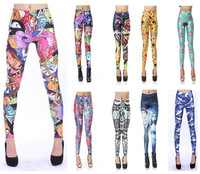 Hot Sale 2014 New Arrival Fashion Colorful Graffiti Camouflage 17 Style Printing Sexy Leggings For Women Free Shipping DK2865