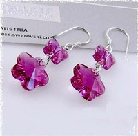 New/ashion Free shipping/ wholesale /925 sterling silver /TOP quality Austria purple red crystal flower dangle Earring for women