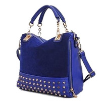 2014 women's work bag casual leather handbags scrub rivet shoulder bag women messenger bags