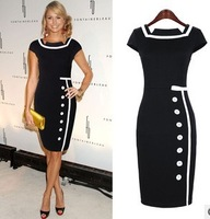 Free shipping European and American fashion retro temperament Slim hit the color stitching single-breasted dress