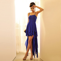 One-piece dress slim fashion low-high sexy spaghetti strap banquet formal dress full dress evening dress