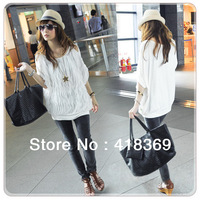 2014 New Women Off Shoulder Wave Batwing Tops Fashion long T-shirt 2 Colors free shipping
