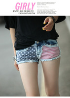 Spring International Summer Fashion Women Korean Style US National Flag Demin Shorts Women's Fashion Low-waist Shorts