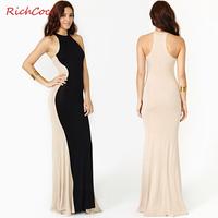 Fashion elegant richcoco colorant match sleeveless o-neck one-piece dress tank dress 2014