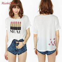 Fashionable casual richcoco fashion lipstick chest print loose short-sleeve o-neck cotton t-shirt d186