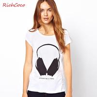 Vampish richcoco fashion earphones pattern print o-neck short-sleeve slim t-shirt basic shirt d262