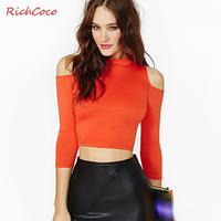 Richcoco normic fashion elastic tight-fitting bare midriff strapless three quarter sleeve turtleneck short design basic shirt