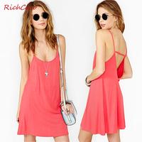 Fashion sexy deep richcoco V-neck racerback low o-neck solid color spaghetti strap one-piece dress d136