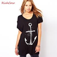 Richcoco fashion anchor print loose o-neck medium-long short-sleeve T-shirt d297