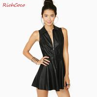 Richcoco fashion street style patchwork zipper tube top sleeveless turn-down collar tiebelt PU d213 one-piece dress