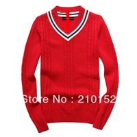 New 2014 Free Shipping Promotion Men V-Neck Sweater Fashion Leisure Sports Men's Sweater Coat