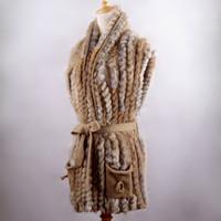 2013 fur handmade medium-long rabbit fur knitted outerwear british style belt vest