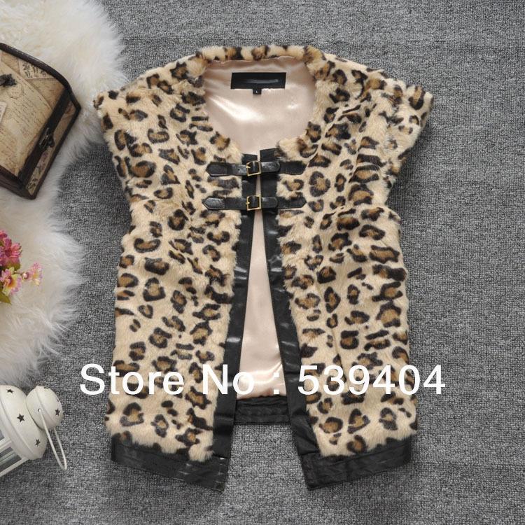 ... Vest Fashion Leopard Faux Fur Vest Down Vest Brand Winter Coat Thick