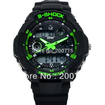 Бесплатная доставка горячий продавать Skmei двойной высокое качество мода G спортивные часы мужчин желе военные наручные часы восхождение кроссовки