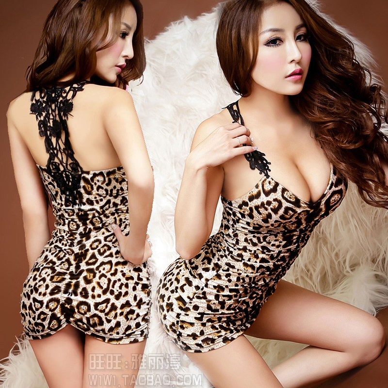new in spring 2014 summer sex bodycon dress slim hip leopard print one-piece low-cut night club women party sexy dresses(China (Mainland))