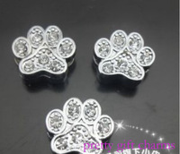 free shipping,100pcs 8mm pretty foot print full crystal Slide Charms,fit 8mm wristband/pet collar,diy jewelry.