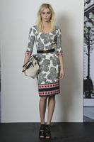 2014 New Style Spring High Quality European Fashion Half Sleeve Knee-Length Brand Runway Elegant Vintage Print White Slim Dress