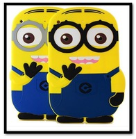 Free Shipping Cute Kids Cartoon Despicable Me 2 Yellow Minion Soft Rubber Silicone Case Shell Cover For Apple iPad 2 3 4