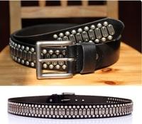 100% Genuine Leather 2014 Man Fashion Metal Punk Retro Rivet HipHop Buckle Wide Belt Male Rock Strap Cinto Ceinture TBT0089