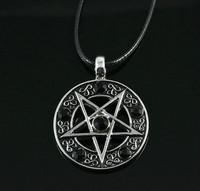 Invert Pentacle Pentagram Star Pewter  Fashion Pendant Necklace For  Lady  Boy  Man