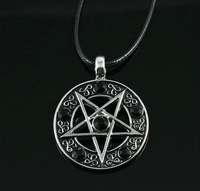 Invert Pentacle Pentagram Star Pewter  Fashion Pendant Necklace For  Lady  Boy  Man