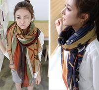 Wholesale -Fashion Women Print Scarf Cotton Silk Voile Beach Sarong Scarf Neck Wrap Shawl Stole Warm Winter long striped Scarves