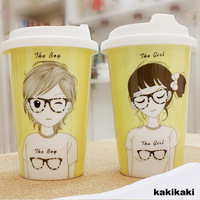 1 Pair New Travel Tea Breakfast Cups Couple Adorable Ceramic Coffee Mugs for Lovers Drinkware