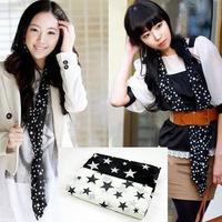 Wholesale - - Fashion Women Five-pointed Star Silk Voile Print Scarf Cotton Beach Sarong Neck Wrap Shawl Stole Scarves
