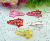 Free shipping!Very hot baby girl headdress, 4 cm clip, printing flower, star shape, 5 color random mix, 50 PCS/lot