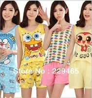 Summer short sleeved nightwear female suit cute cartoon sleepwear Home Furnishing suit women short pajamas cheap summer pajamas