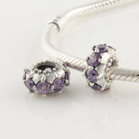 925 Sterling Silver Slide Charm Beads With Purple Crystal Compatible With European Pandora Style Charm Bracelets XS032E