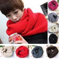 Wholesale - - Fashion Womens Ladies Girls Winter Warm Knit Neck Circle Wool Warmers Cowl Snood Scarf Collar Shawl Wrap 12 colors