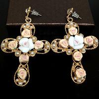 Free shipping 2013 fashion accessories women earrings flower pearl cross pedent Vintage earrings cross drop earrings