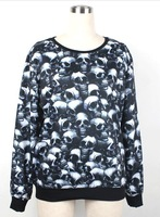 Men / Women Sportwears New 2014 Spring 3D Skull Printed Sweatshirts Brand Galaxy Sweaters Hoodies Plus Size
