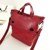 Korea style Solid color Flip cover Vintage Multipurpose PU Messenger bag
