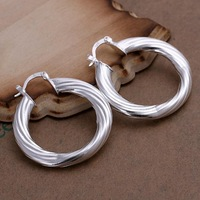 Hot Sale! Wholesale 925 Silver Plated  Empty Torsional Line Earrings for Women Fashion Jewelry SPCE155