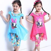 Retail NEW design 2014 new children's clothing summer set child cartoon short sleeve t-shirt flower print harem pants twinset