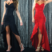 2014 women fashion spaghetti strap dress sexy pack hip trumpet mermaid prom dress