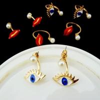 Cheap Beauty punk red lip&evil eyes clip earrings