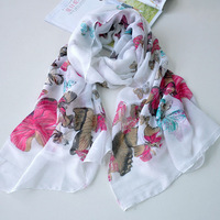 2014 women's elegant butterfly print soft cotton skin-friendly thin silk scarf