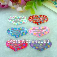 Free shipping! Veryhot girl's hair clips, 3.5 CM series-heart-shaped , printing color dot, 6 color random mixing, 100 PCS/lot